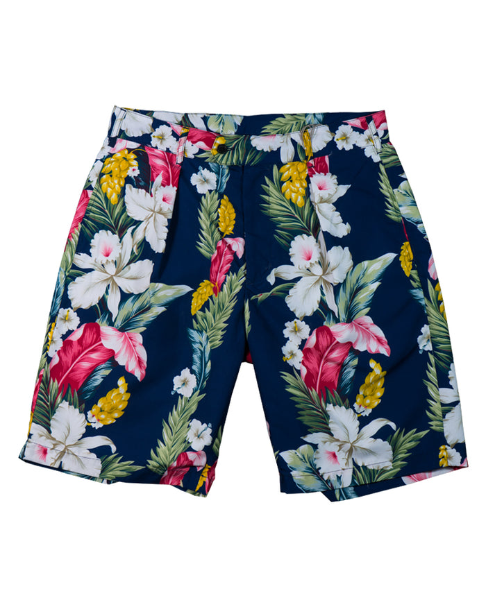 Engineered Garments Sunset Short Dark Navy Hawaiian Floral Microfiber