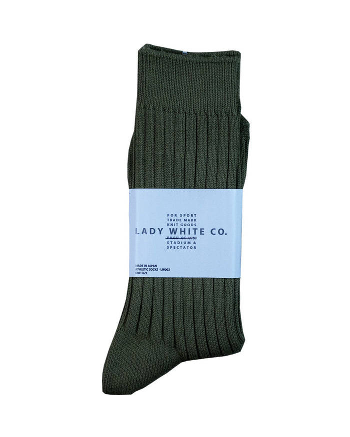 Lady White Olive Athletic Socks