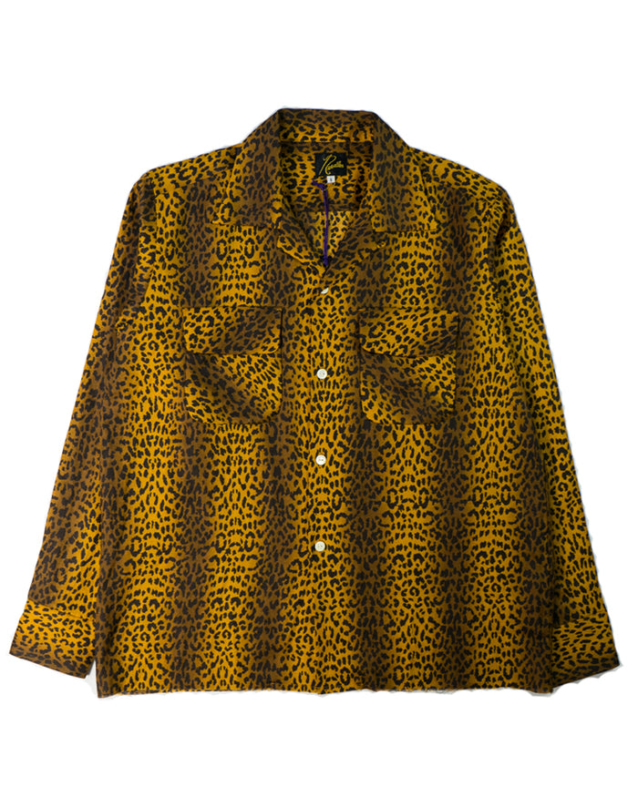 Needles Cut-Off Bottom Classic Shirt Linen Cloth Leopard Print