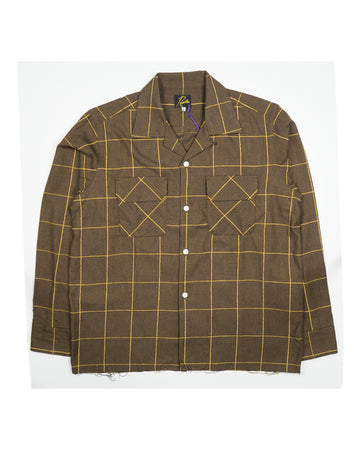 Needles Cut-Off Bottom Classic Shirt Brown Plaid Twill