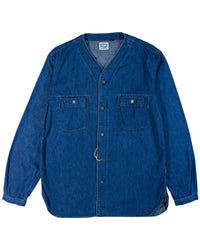 orSlow No Collar Denim Shirt Used Wash