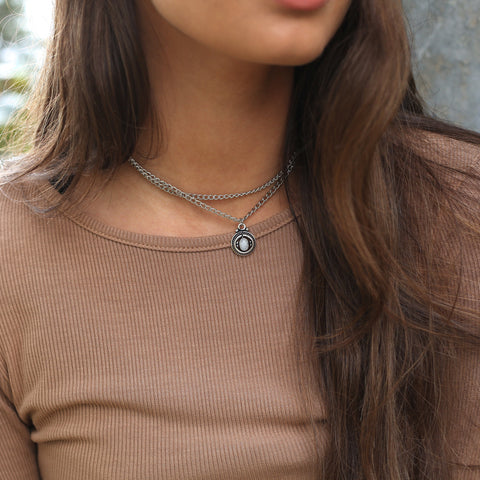 Rainbow Moonstone Double Chain Choker - Style #1