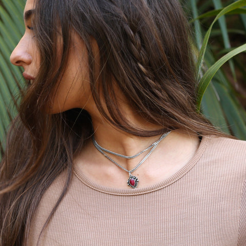 Indian Ruby Double Chain Choker