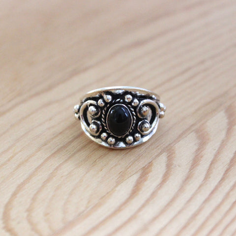 Indian Black Onyx Sterling Silver Ring