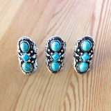 Three Stone Turquoise Silver Ring