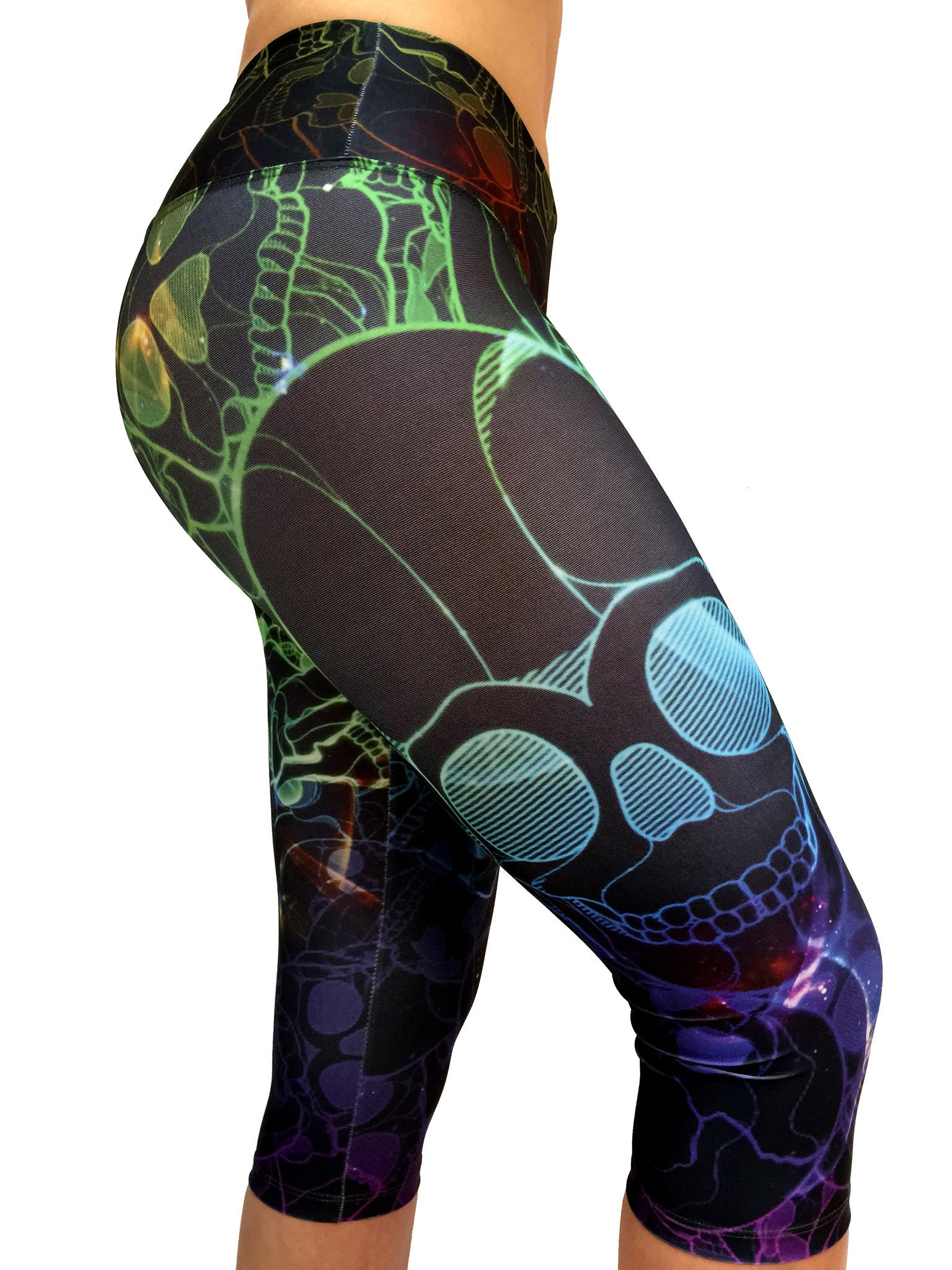 Colorful Skull Capri - Leggings - Butterfly Armor