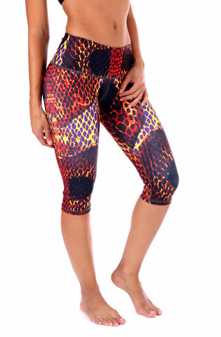 Orange Snake Capri - Leggings - Butterfly Armor