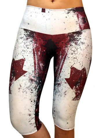 Canadian Flag Capri - Leggings - Butterfly Armor
