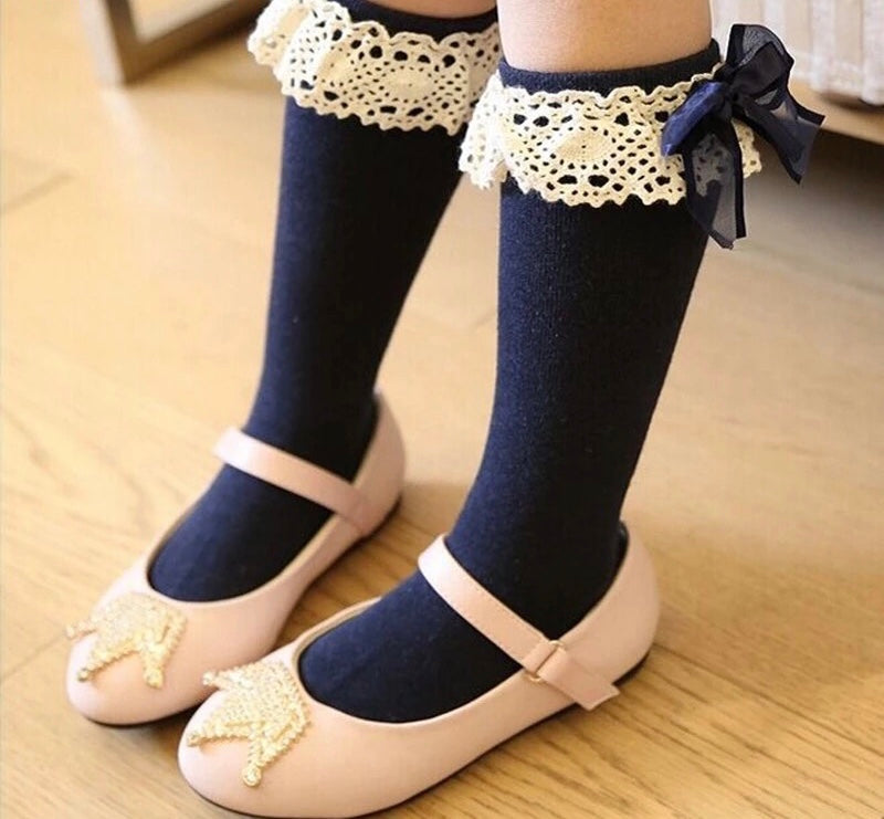 Crochet & Bows Know Knee Socks (Navy)