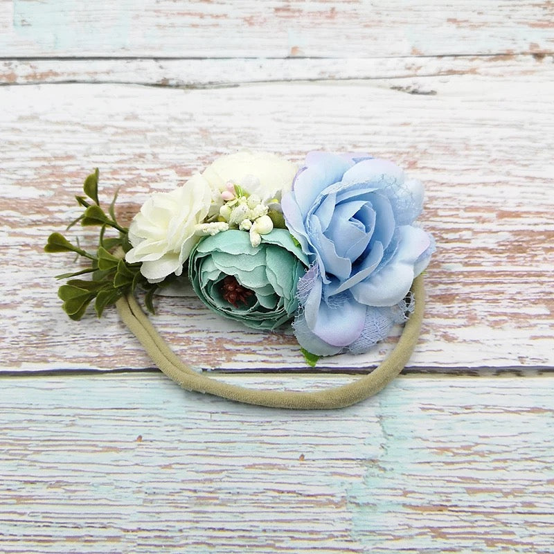 The Summer Headband (blues & ivory)