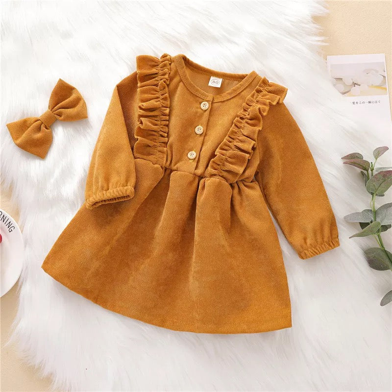 Corduroy Classic Dress Set (goldenrod)