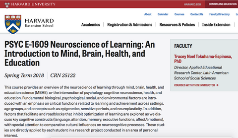 Harvard Neuroscience of Learning Course