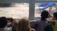 Preschool Orientation: Giving the children a tour of the school