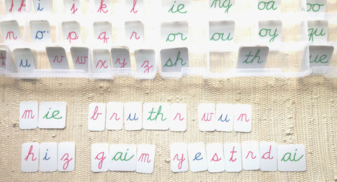 Montessori movable alphabets cursive phonograms