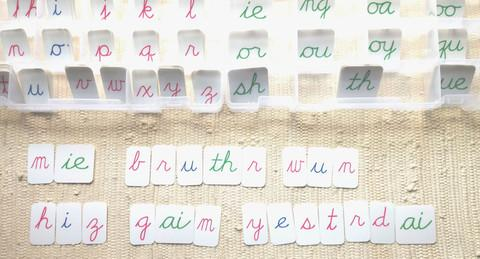 Montessori movable alphabet handwriting prep
