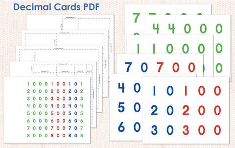 Decimal Cards PDF Download - Maitri Learning