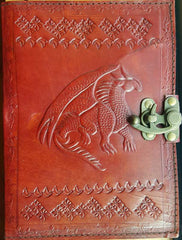 Single Dragon leather blank book w/ latch