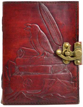 Raven leather blank book w/ latch