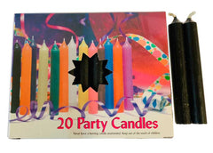 "1/2"" Black Chime Candle 20 pack"