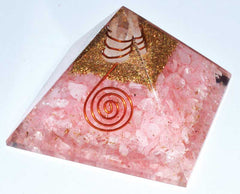 70mm Orgone Rose Quartz & Quartz Point pyramid
