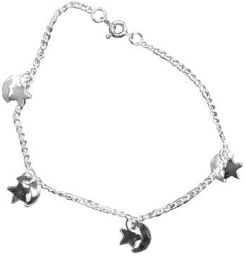 Silvertone anklet w/ Stars & Moons