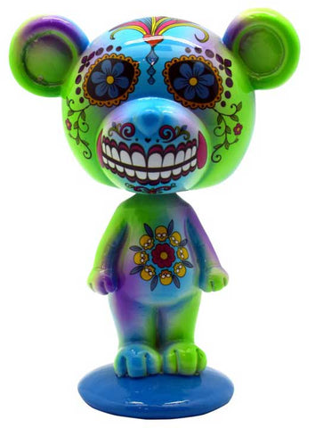 "5 1/2"" Blue/ Green Day of the Dead bobble head"