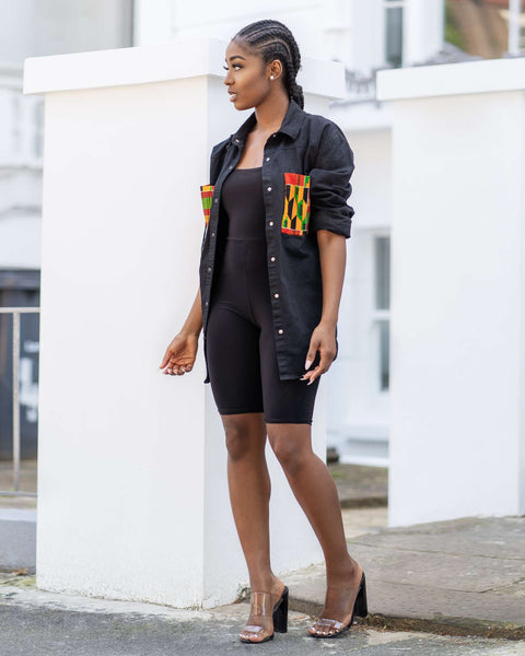 Kente Demin oversized distressed shirt