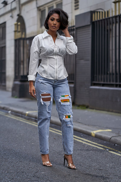 Kente Mom distressed jeans (PREORDER)