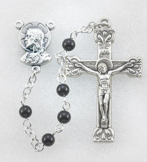 ONYX BEAD GEMSTONE ROSARY 4MM