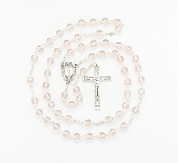 8MM PINK CRYSTAL ROSARY