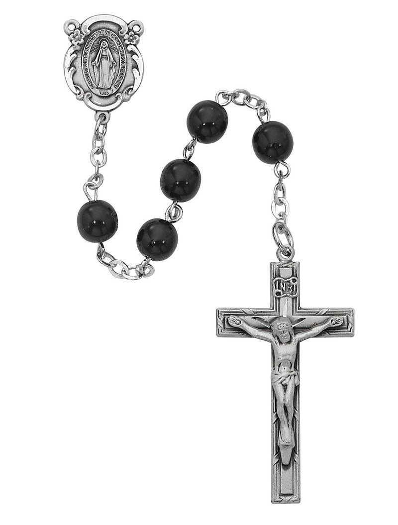 SS BLK GLASS ROSARY 6MM ROUND