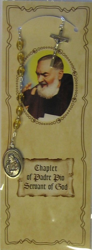 PADRE PIO CHAPLET W/CARD