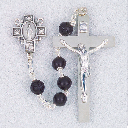 SS BLACK MATTE ROSARY BOXED