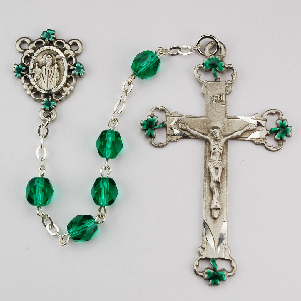 SS 7MM GREEN GLASS ROSARY