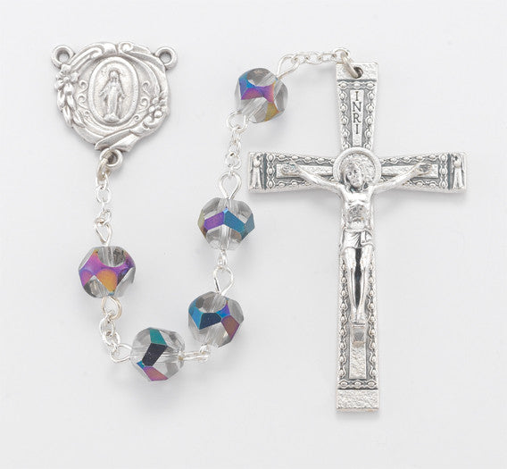 8MM ROUND FACETED VITRIOL ROSARY