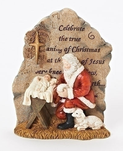 CARVED STONE KNEELING SANTA 6""