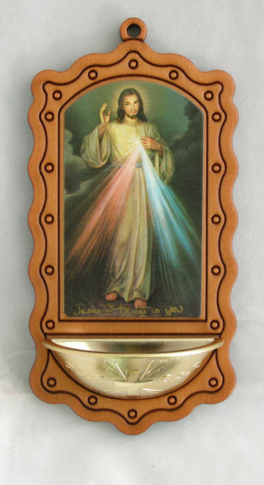 DIVINE MERCY WOOD HOLY H2O FON