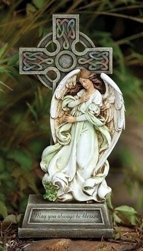 CELTIC CROSS WITH ANGEL 14""