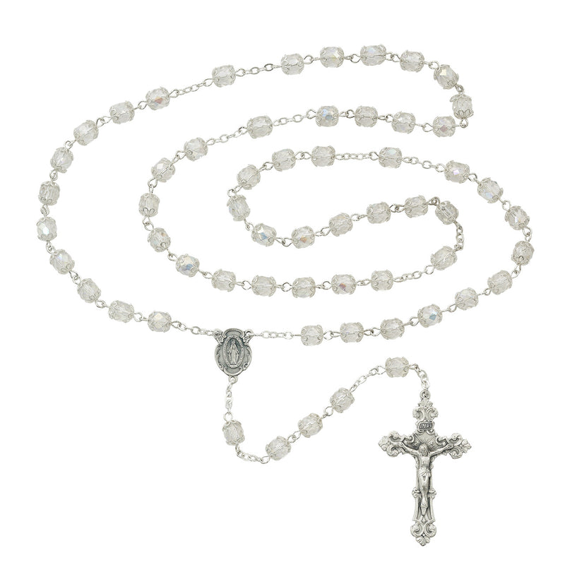 7MM CRYSTAL AB CAPPED ROSARY