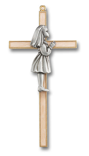 "1ST COMMUNION GRL CROSS 7"" PRL"