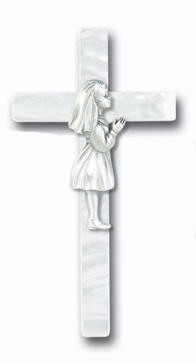 PEARLIZED COMMUNION GIRL CROSS