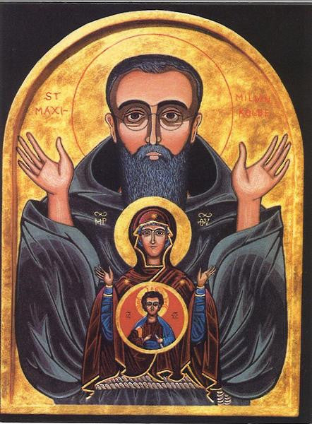 ST MAX KOLBE ICON HOLY CARD