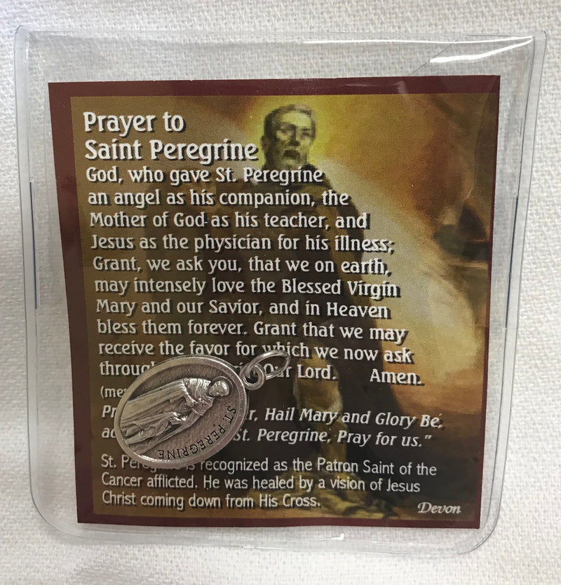 ST PEREGRINE PRAYER WITH MEDAL