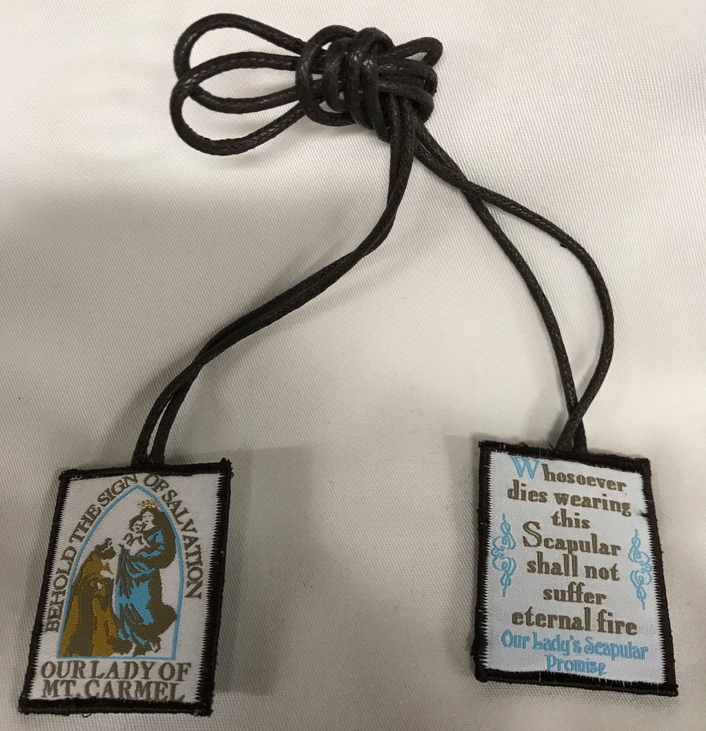 BROWN SCAPULAR W/MEDAL POCKET