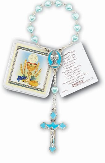 BLUE HEARTSHAPED POCKET ROSARY