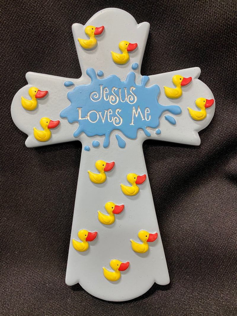 JESUS LOVES ME CROSS BL/ DUCKS
