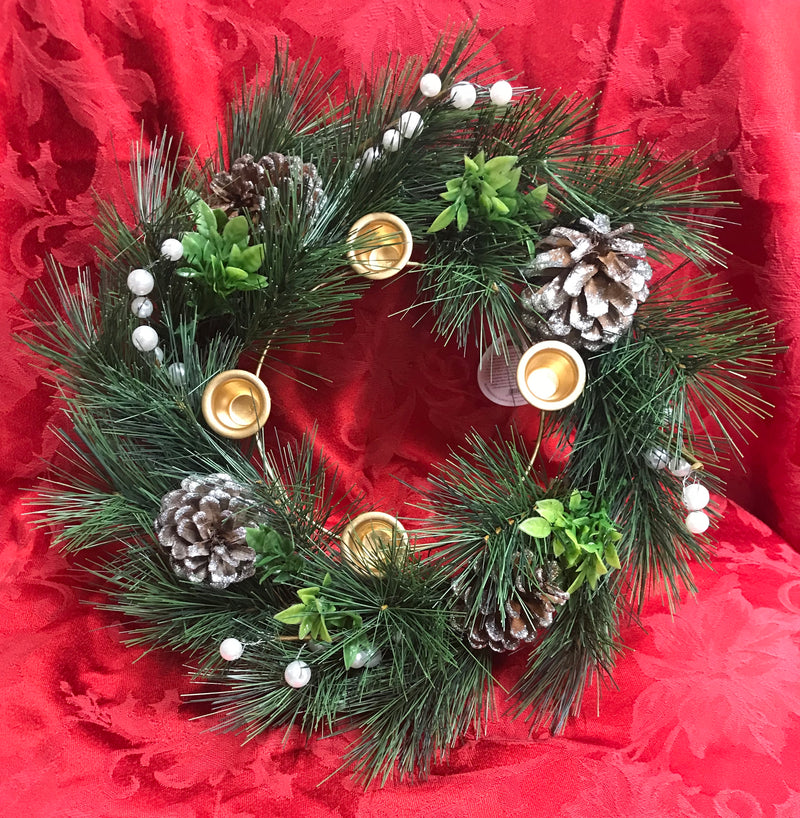 ADVENT PINE WREATH W/O CANDLES