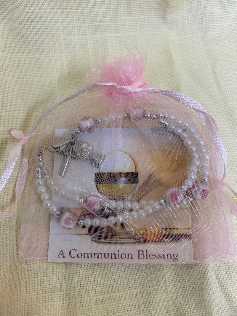 COMMUNION BRACELET IN PINK BAG