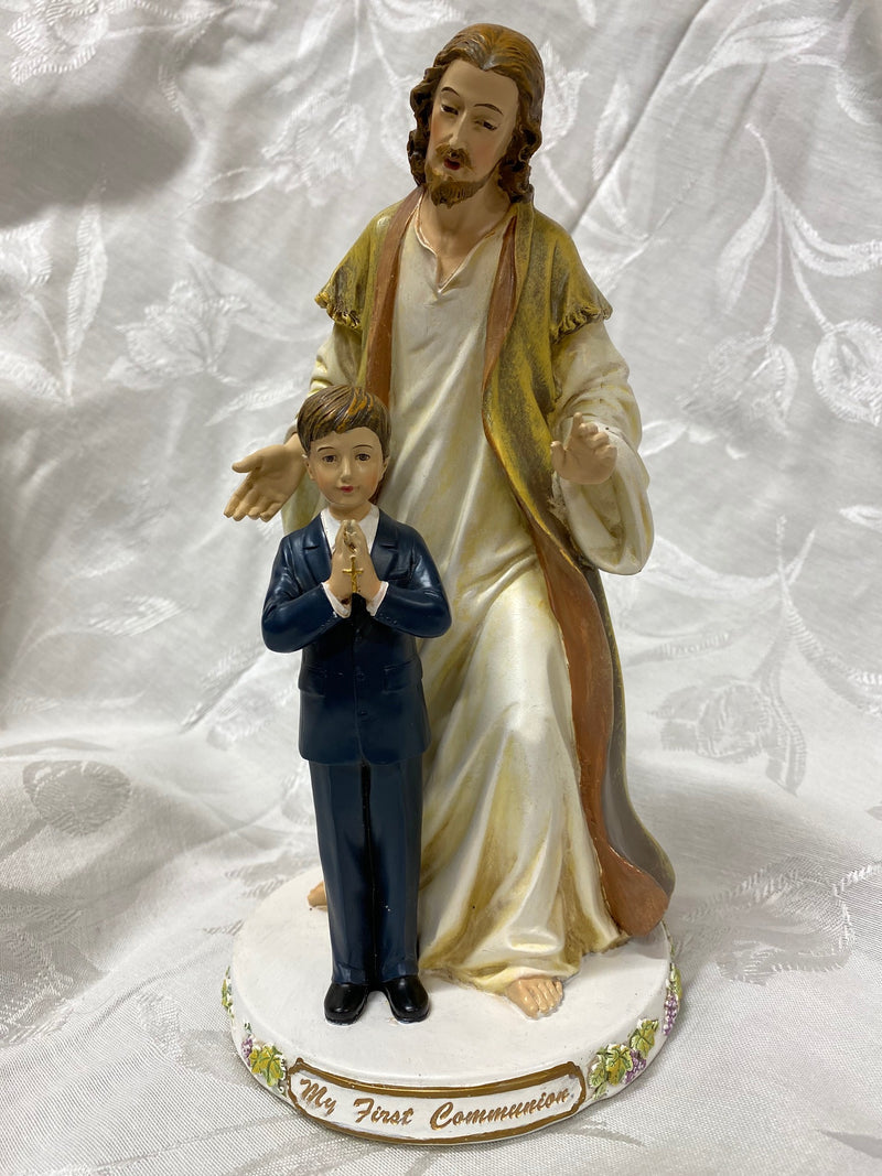 First Communion Statue of Jesus with a boy.