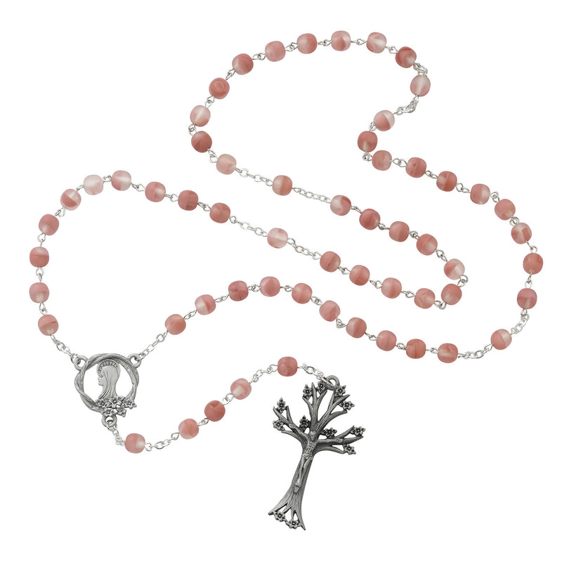 ROSE FROSTED GL ROSARY 7MM